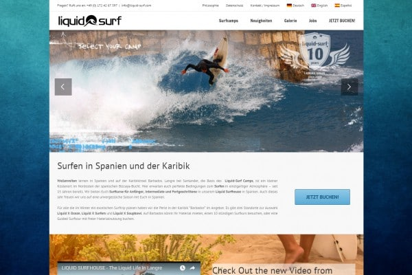 Liquid Surf Homepage portfolio Portfolio liquidsurfhp 600x400